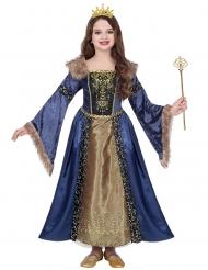 Eisige Königin Mittelalter-Kostüm für Mädchen blau-goldfarben