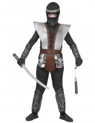 Hochwertiges Ninja-Meister Kostüm für Jungen Karnevals-Verkleidung braun-grau-schwarz