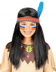 Indianer Perücke für Kinder mit offene Haaren und Stirnband