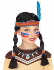 Indianer Perücke für Kinder mit Zöpfen und Feder
