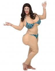 Muskulöses-Damenkostüm Sportmuffel für Karneval hautfarben-blau-schwarz