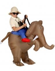 Reiter auf Elefanten Huckepack-Kostüm für Kinder aufblasbar braun-blau-rot