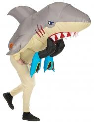 Hai-Attake aufblasbares-Kostüm für Erwachsene beige-grau-rot