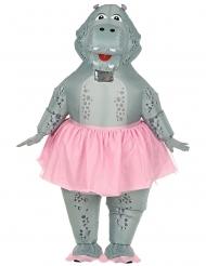 Ballerina Hippo-Kostüm aufblasbar für Erwachsene grau-rosa