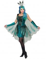 Prachtvolles Pfauenkostüm für Damen Karneval-Verkleidung türkis-schwarz