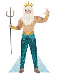 Neptun-Herrenkostüm für Karneval Poseidon-Verkleidung blau-goldfarben
