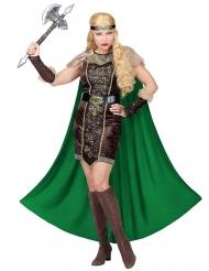 Wikinger-Kostüm für Damen Karnevals-Verkleidung grün-braun