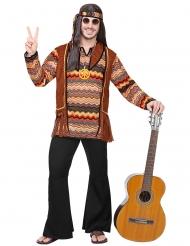 Hippie-Kostüm für Herren 60er-Jahre-Verkleidung braun-schwarz