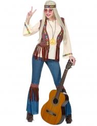 Flippiges Hippie-Damenkostüm Karnevals-Verkleidung bunt
