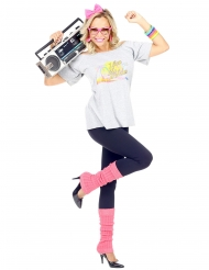 80er-Jahre Damenkostüm Retro für Karneval weiss-pink