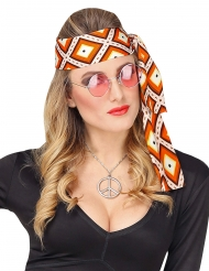 70er-Jahre-Kopfband für Damen Kostüm-Accessoire orange-weiss