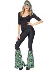 70´s Kostüm-Accessoire-Set Stulpen und Haarband blau-grün-schwarz