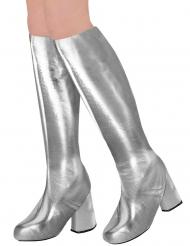 Flippige Stiefelstulpen für Damen 70er-Mottoparty Kostüm-Accessoire silber