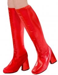 60er-Jahre Retro-Stiefelstulpen für Karneval Damen-Accessoire rot