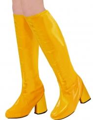 Stiefelstulpen aus den 60er und 70er-Jahren Kostüm-Accessoire gelb