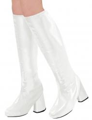 70´s-Stiefelstulpen Kostüm-Accessoire für Karneval weiß