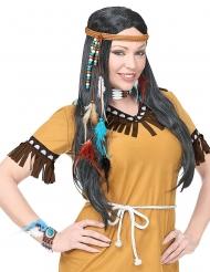 Indianer-Accessoire-Set für Karneval braun-blau-weiss