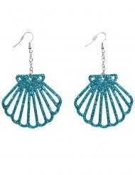 Muschel-Ohrringe Accessoire für Meerjungfrauen blau-glitzer