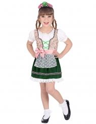 Zünftiges Trachtenkostüm für Mädchen bayrische-Verkleidung weiss-rosa-grün