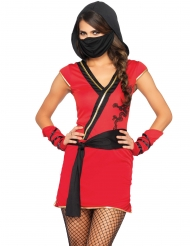 Ninja Damenkostüm kämpferische Drachenjägerin schwarz-rot
