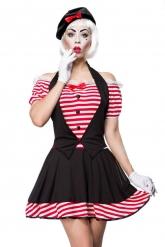 Sexy Pantomime-Damenkostüm für Fasching schwarz-rot-weiss