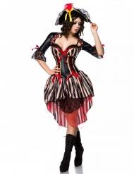 Verführerisches Piratinnen-Kostüm für Damen Faschings-Verkleidung schwarz-rot-beigefarben
