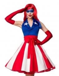 Miss America Damenkostüm für Fasching blau-weiss-rot