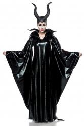 Dunkle Fee-Damenkostüm Deluxe-Verkleidung schwarz