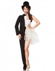 Exklusives MannFrau-Kostüm für Damen Fasching schwarz-weiss