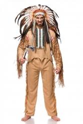 Hochwertiges Häuptlings-Kostüm für Herren mit Federschmuck braun-bunt