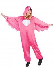 Flippiges Flamingo-Damenkostüm pink-weiss