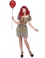 Horror Clown-Damenkostüm Halloween gold-grau