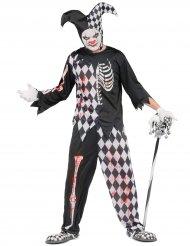 Horror Harlekin Halloween Kostüm für Herren schwarz-weiss-rot