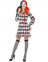Harlekin-Damenkostüm blutig Halloween-Verkleidung schwarz-weiss