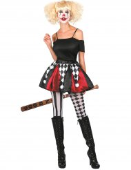 Clown-Petticoat Kostümzubehör für Damen schwarz-weiss-rot