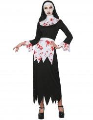 Blutige-Nonne Damenkostüm für Halloween schwarz-weiss-rot