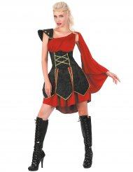 Gladiatorinnen-Kostüm Antike-Damenkostüm rot-schwarz