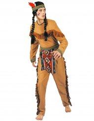Indianer-Herrenkostüm mit Schürze Karnevals-Klassiker braun-bunt