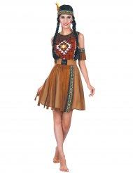 Farbenfrohes Indianerin-Kostüm Squaw-Verkleidung für Damen braun