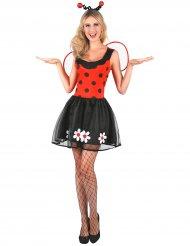 Süßes Marienkäfer-Kostüm für Damen mit Blüten rot-schwarz