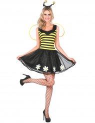 Süßes Bienen-Kostüm für Damen mit Blüten gelb-schwarz