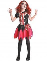 Zombie-Harlekin Mädchenkostüm Halloween schwarz-weiss-rot