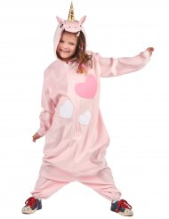 Niedliches Einhorn-Kinderkostüm Jumpsuit rosa-weiss