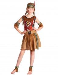 Süsses Indianermädchen-Kostüm mit Fusskettchen braun