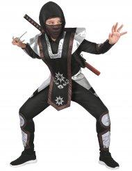 Ninja-Kostüm für Jungen hochwertiges Karnevals-Kostüm schwarz-silber-braun