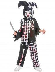 Horror-Clown Kostüm für Kinder Halloween-Verkleidung schwarz-weiss-rot