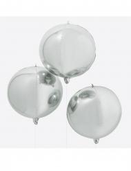 Runder Riesenballon Metallic-Silber 55 cm