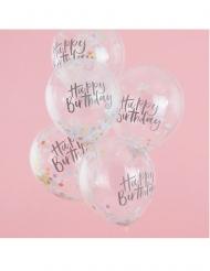 Happy Birthday-Luftballons mit Konfetti Raumdeko 5 Stück bunt 30cm