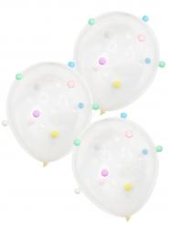 5 Luftballons mit pastellfarbenen Bommeln 30 cm