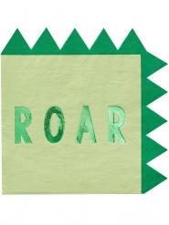 Dinosaurier-Papierservietten Kindergeburtstag 16 Stück grün 33x33cm